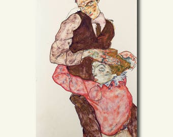 Printed On Textured Bamboo Art Paper - Lovers 1914/1915 - Egon Schiele Print Schiele Poster Gift Idea  bp