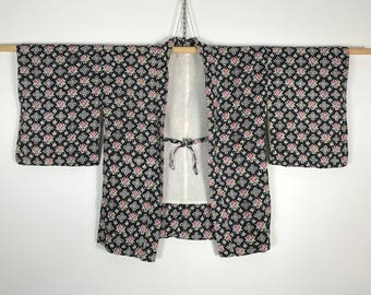 D749 Vintage Japanese Haori Kimono Womens Cotton Cardigan Jacket Black Pink