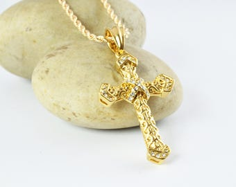 52mm Elegant Design Shine Dainty Cross Religious Cubic Zirconia Crystal Gold Filled, Gold Filled Pendant,Jewelry Pendant Charm w/ Bail