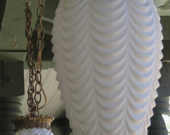 Vintage Hollywood Regency Hanging Swag Double White Pendent Light Fixture Mid Century Chandelier Moroccan Style