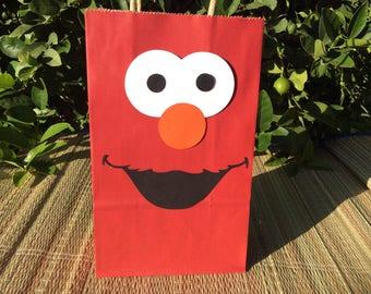 10 Elmo Birthday Party Favor Bags/Elmo 1st birthday party decorations/Sesame Street birthday/Elmo party bags/Elmo centerpieces