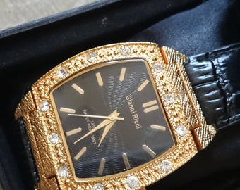 Gianni ricci gold plated and crystal encrusted mens Dress Quartz Watch.                             .