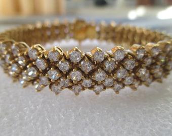Rhinestone Bracelet * Gold Over Silver * Dressy Vintage Bracelet * Sparkly Bracelet * Gift For Lady