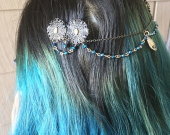 Hippie accessories, Hair accessories, mermaid hair, hair pins,  hair clips, bridal hair pieces, mermaid hair accessories, seashell hair clip