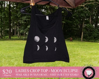 Ladies Moon Eclipse Crop Top