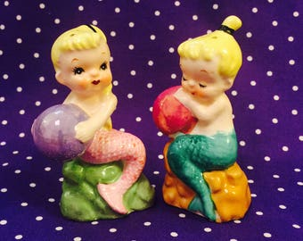 Norcrest Little Mermaids with Balls Salt and Pepper Shakers made in Japan circa 1950s