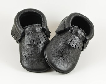Black Baby Moccasins Baby Shoes Baby Moccs Infant Moccasins Newborn Moccs Toddler Moccs Genuine Leather Handmade Moccasins Soft Soled Shoes