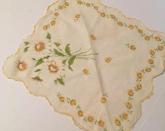 Vintage handkerchief ... yellow flowers on white