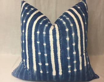 Indigo Mudcloth Pillow Cover, African Mudcloth, Boho Decor, Throw Pillow, Shibori Pillow Cover, Home Decor