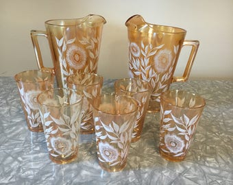 Peach Luster Glass Pitcher Set, Two Pitcher and Six Drinking Glasses, Marigold Jeanette Glass, 8 Pc Set