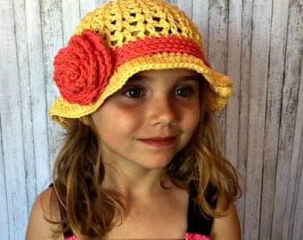 Crochet Summer Hat PATTERN - Girls Hat Pattern - Floppy Hat Pattern - Flower Hat Pattern - Easy Crochet Pattern - Brimmed Hat Pattern