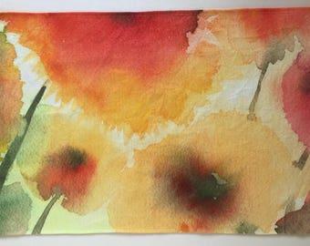 Pure linen Panel. Placemat. Dish towel. Exclusive watercolor
