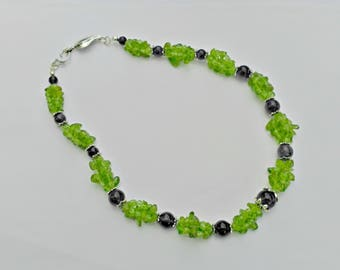 Olivine and amethyst necklace, green and violet necklace, natural stone necklace.