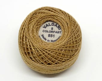 Valdani Pearl Cotton Thread Size 8 Solid: #851 Antique Gold Light
