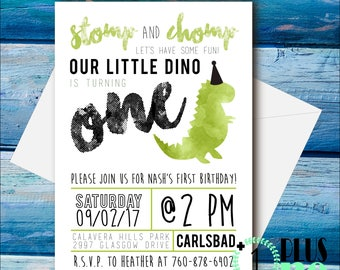 DIY Printable / Digital Download - Dinosaurs Invitation - Dino Theme Party - Little boy Invite - Our Little Dino Stomp and Chomp Trendy 5X7