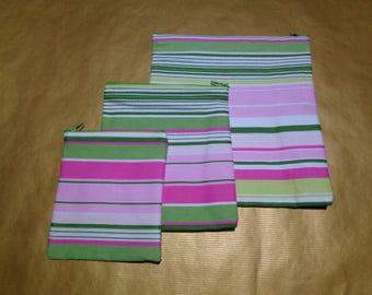 Pink & Green Stripe 3x Poppins Waterproof Lined Zip Pouch - Sandwich bag - Zip Pouch Bikini Bag - Lunch Bag - Swim Bag - Gift Bag  Christmas