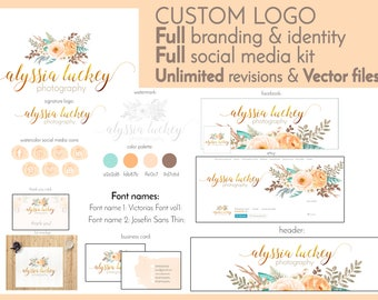 Full Branding And Identity Pack With Custom Watercolor Logo Business Card Design Stationary Design Social Media Kit Watercolor Wreath