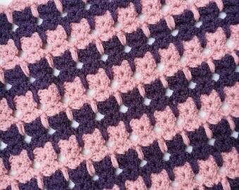 Crochet Baby Blanket - Pink and Purple Aran Wool Cat Stitch