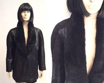 FLASHSALE50% Vtg 80s Leather Real Fur Collar Jacket Coat
