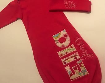 Pink personalized baby gown