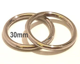 Large SILVER O-rings 30mm ID / Purse Hardware / Silver O Ring / Strap Hardware / Chrome O rings / 37mm Rings / Set of TWO O Rings