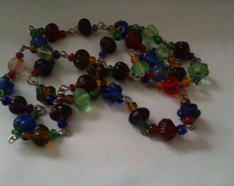 vintage multi coloured melon shaped glass bead necklace