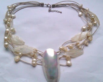multi strand mother of pearl shell pendant necklace