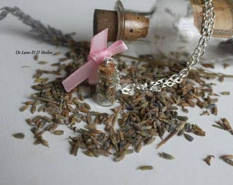 Necklace glass bottle and lavender