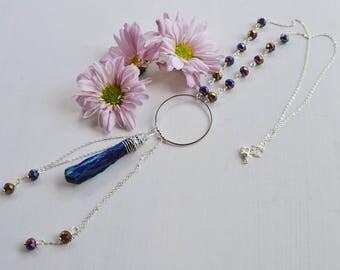 Titanium quartz necklace,Natural stone necklace,iridescent beads necklace,iridescent pendant necklace,boho necklace,iridescent necklace,boho
