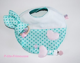 Gift baby bib, pacifier, teether bunny ears