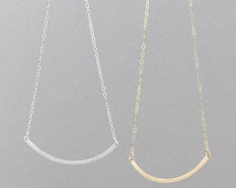 Dainty Long Curved Bar Necklace, wedding gift in Silver, Gold Fill, Rose Gold Fill / 20G HCN