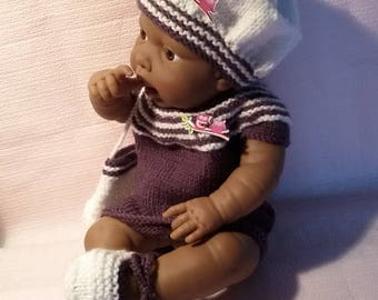 Clothing for infants 36/42cms dress, beret, wool handbag and shoes