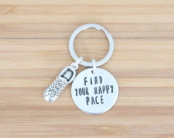 hand stamped keychain | find your happy pace