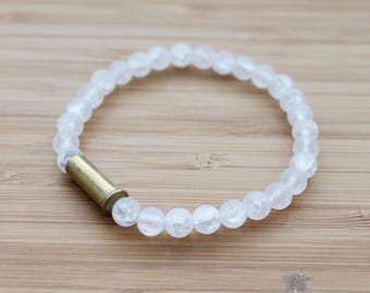 beaded bullet shell bracelet | clear