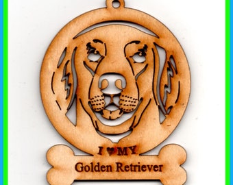 I Love My Golden Retriever~Dog Breed Ornament~Wood~NEW~ As seen or Personalized