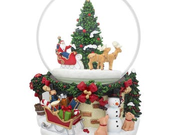 "7"" Rotating Santa on Reindeer Sleigh by Christmas Tree Music Globe"
