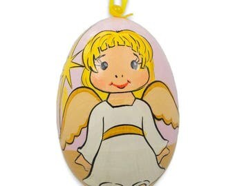 """3"""" Smiling Angel Wooden Christmas Ornament"""