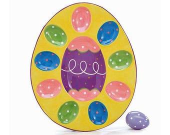 """11.75"""" Easter Eggs Ceramic Holder Display"""