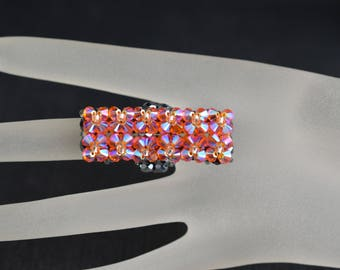 Long Swarovski crystal ring - tangerine ab2x