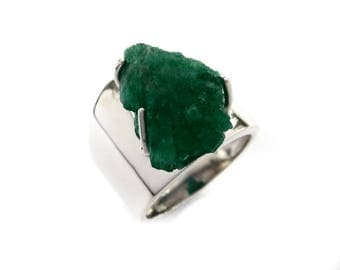 Emerald Ring Raw Natural Sterling Silver Genuine Women Size 6