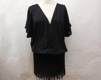 Unique Womens Mini Fringed Black Dress Large