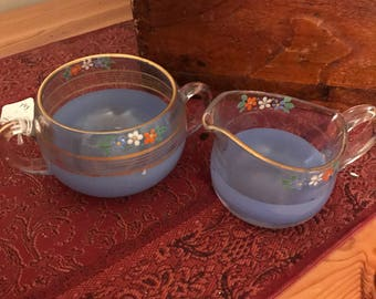 Vintage painted glass cream and sugar set