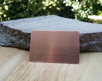 5 Pure Copper 2 1/8' x 3 3/8' Card Blanks 18 or 20 Gauge