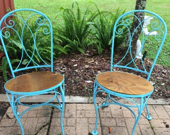 Patio Furniture, Iron Chairs, Shabby Chic, Dixie Belle Blue