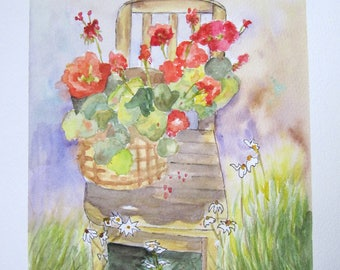 """geraniums on the Chair in the garden"" watercolor painting"