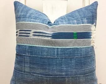 Indigo Mud Cloth Pillow, Boho Pillow, New Linen Back, Premium quality & construction