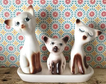 siamese cat salt & pepper shakers with toothpick holder