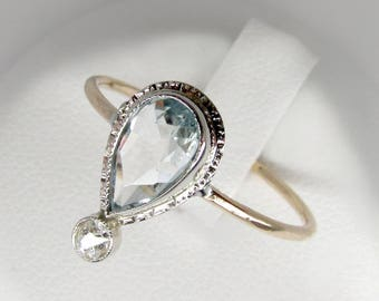 gold aquamarine ring, 14k white gold teardrop aquamarine ring, antique diamond aquamarine ring, aquamarine engagement ring, art nouveau ring