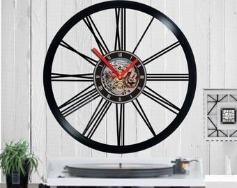 Vinyl clock, Roman numbers,Shapes Clock, circle, watch,clock, quartz, vinyl, birthday, gift, funny, wall clock, housewarming, handmade