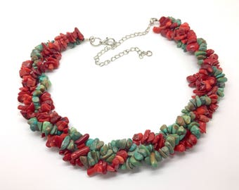 Braided necklace Turquoise and coral - 3 ply